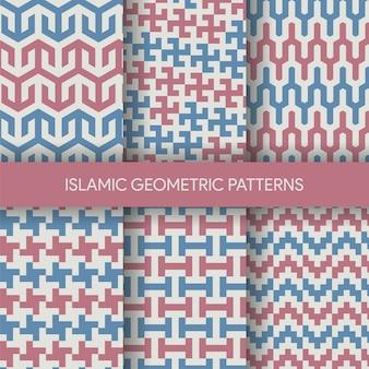 Colección de fondos vibrante patrones sin fisuras islámicos