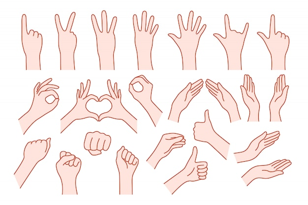 Colección de la forma de la mano como gesto. concepto de ayuda de parada o símbolo de la roca v, derecha o izquierda, animado número uno, dos, tres, cuatro, cinco, cero