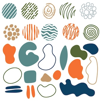 Colección de formas abstractas dibujadas a mano