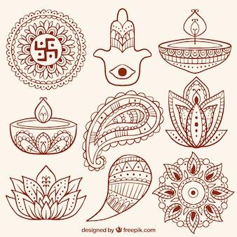 Colección de formas abstractas ornamentales y velas de diwali