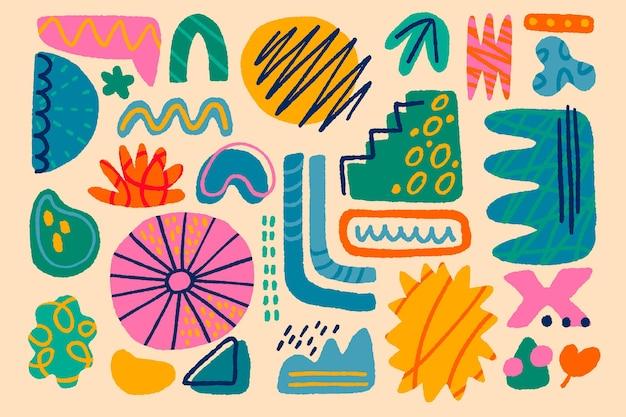 Colección de formas abstractas planas dibujadas a mano