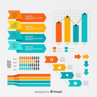Colección de formas creativas para infografía empresarial