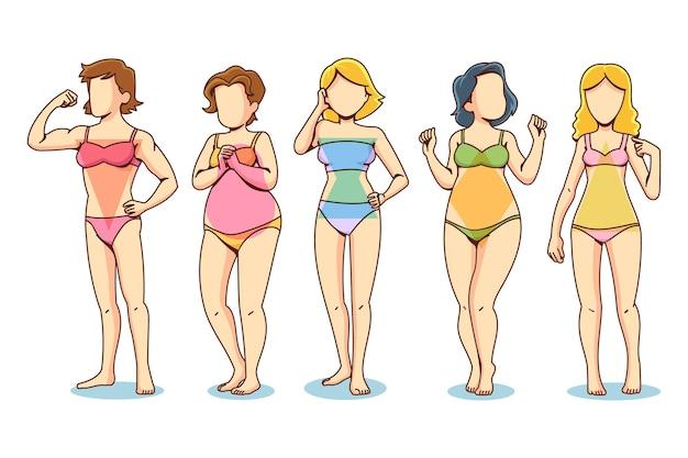 Colección de formas de cuerpo femenino dibujadas a mano