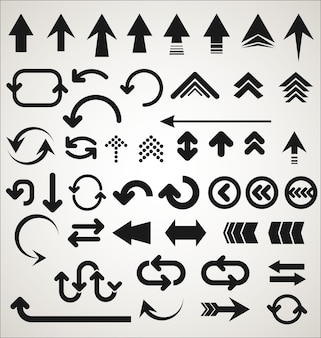 Colección de formas de flecha aisladas sobre fondo gris
