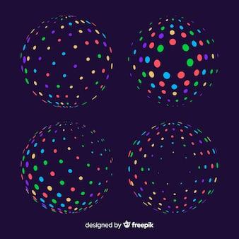 Colección de formas geométricas 3d de partículas coloridas