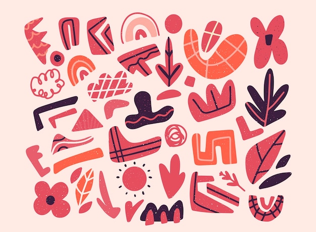 Colección de formas orgánicas rosas abstractas