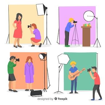Colección de fotógrafos que trabajan ilustrados