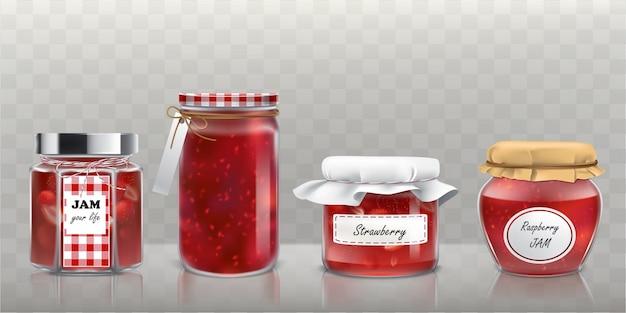 Colección de frascos de vidrio de vector con mermelada en un estilo realista