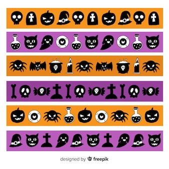 Colección de frontera de criaturas de halloween