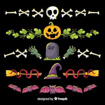 Colección de frontera de halloween dibujada a mano