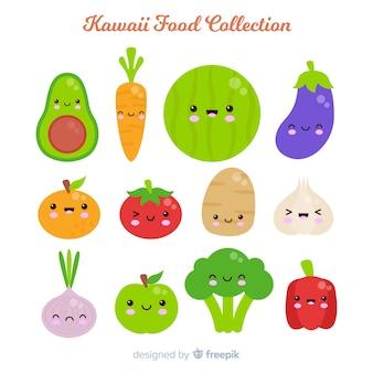 Colección fruta adorable dibujada a mano