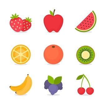 Colección de fruta deliciosa plana