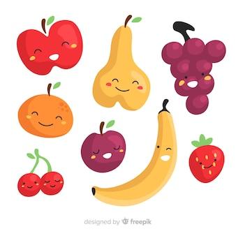 Colección fruta dibujada a mano