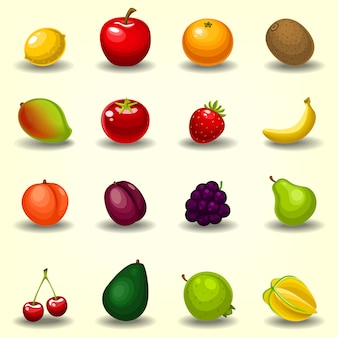Colección de fruta de dibujos animados semi realista conjunto de plantilla