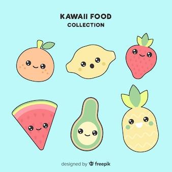 Colección fruta kawaii plana