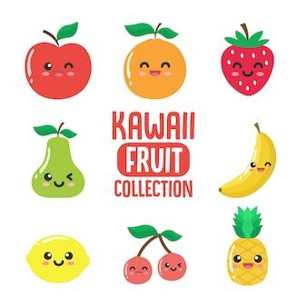 Colección de fruta kawaii.