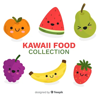 Colección fruta y verdura adorable dibujada a mano