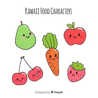 Colección fruta y verdura kawaii dibujada a mano