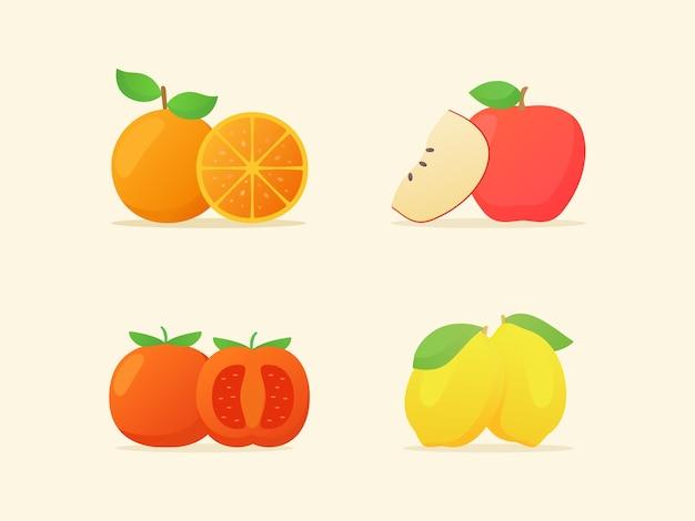 Colección de frutas aisladas en beige