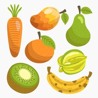 Colección de frutas deliciosas planas orgánicas
