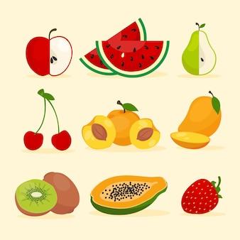 Colección de frutas deliciosas planas