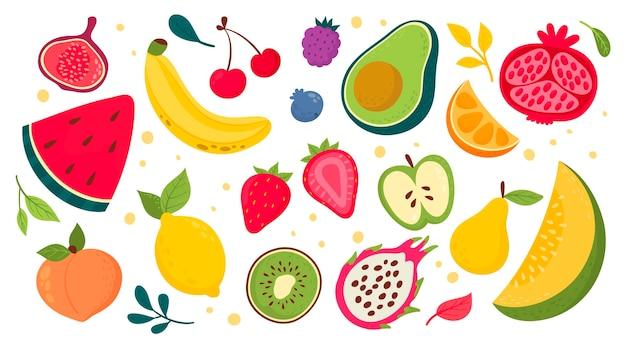 Colección de frutas dibujadas a mano