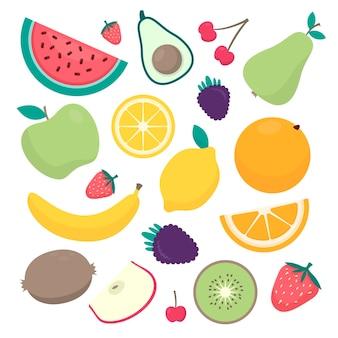 Colección de frutas de diseño plano