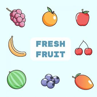 Colección de frutas frescas estilo líneas planas colorfull
