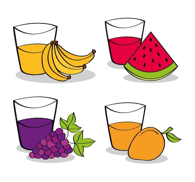 Colección de frutas y jugos