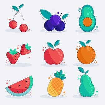 Colección de frutas planas orgánicas