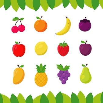 Colección de frutas planas