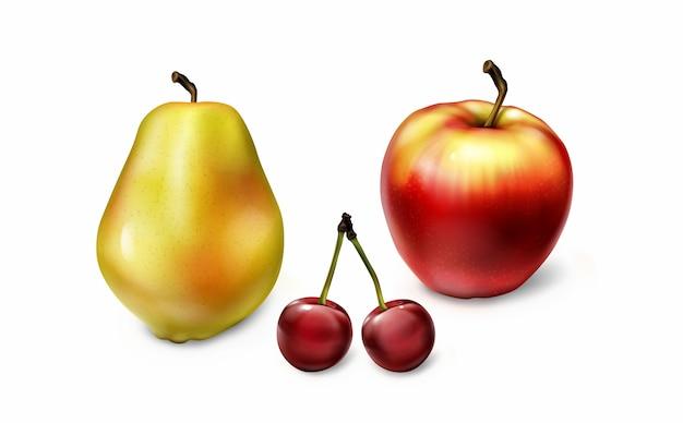 Colección de frutas realistas