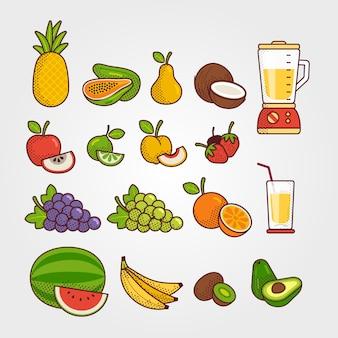 Colección de frutas tropicales.