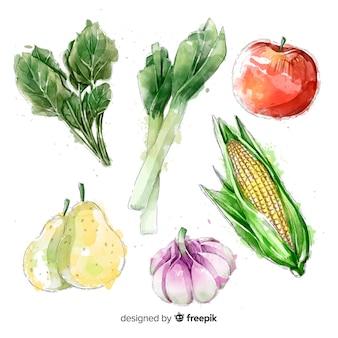 Colección frutas y verduras acuarela