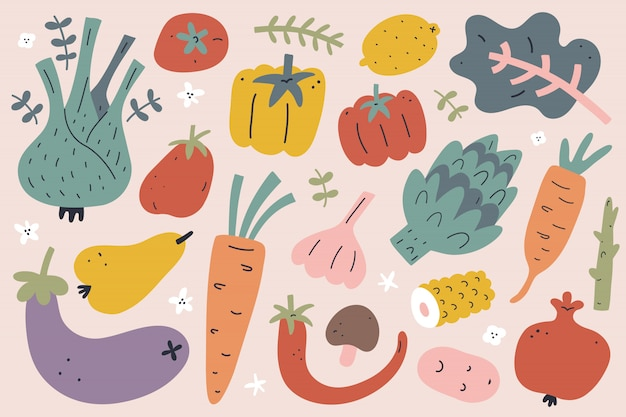 Colección de frutas y verduras dibujadas a mano, ilustraciones aisladas