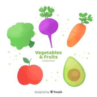 Colección frutas y verduras dibujadas a mano