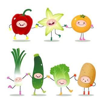 Colección de frutas y verduras de dibujos animados