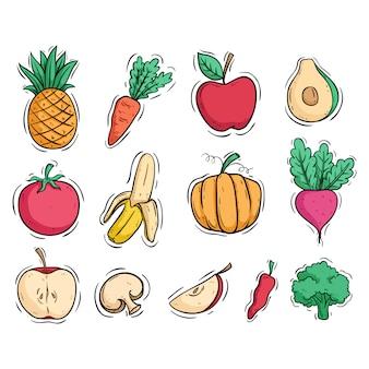 Colección de frutas y verduras con estilo doodle coloreado.