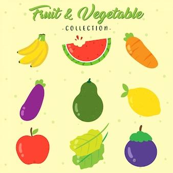 Colección de frutas y verduras frescas
