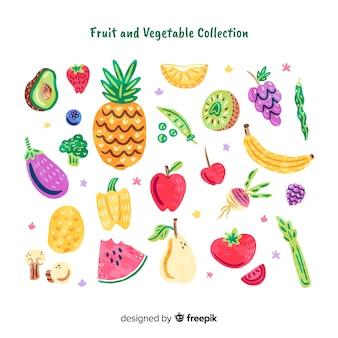 Colección frutas y verduras garabatos
