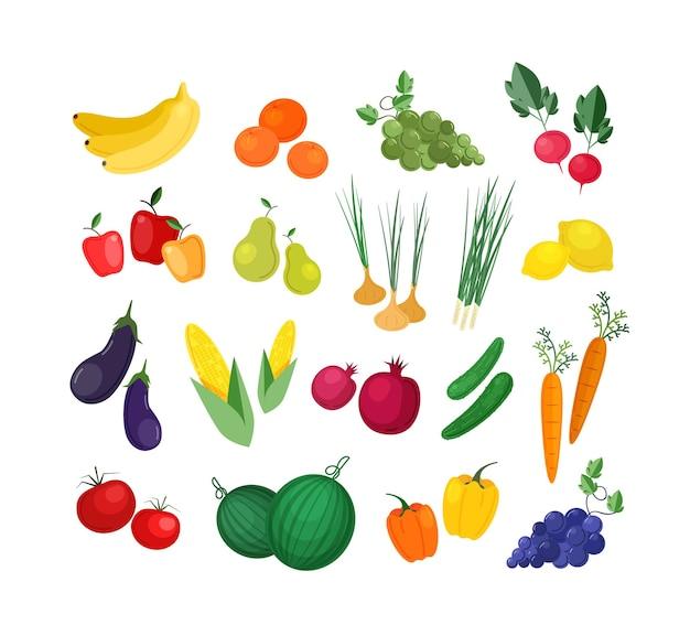Colección de frutas y verduras orgánicas frescas maduras aisladas en blanco