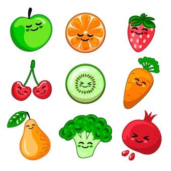 Colección de frutas y verduras.