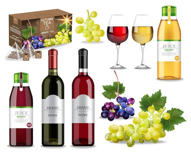 Colección de frutas y vino de otoño