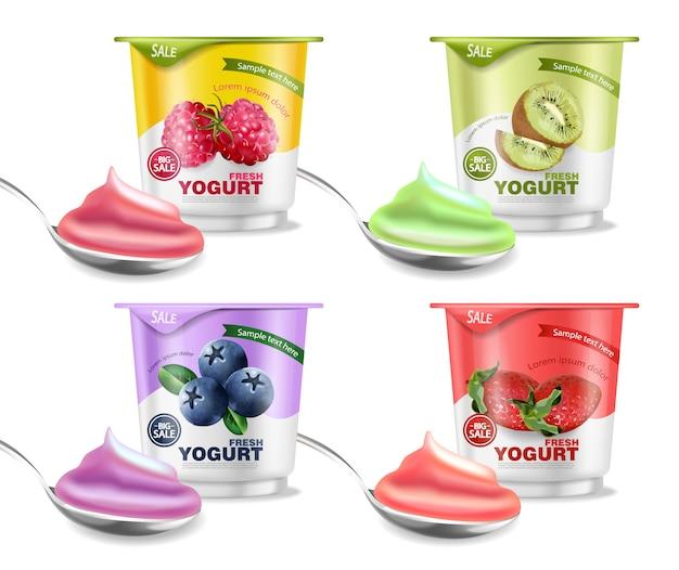 Colección de frutas yogurt maqueta
