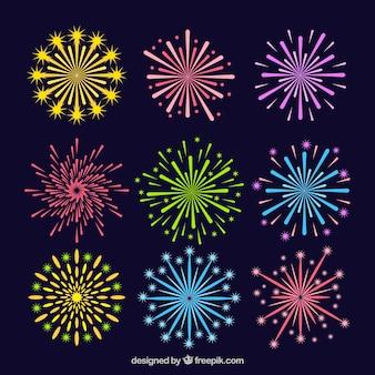 Colección de fuegos artificiales de colores