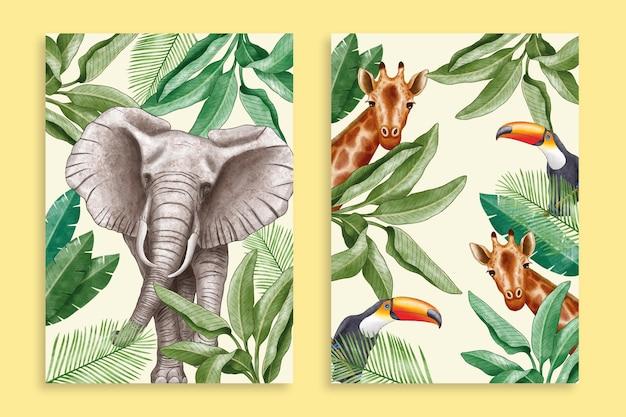 Colección de fundas de animales salvajes de acuarela pintada a mano.