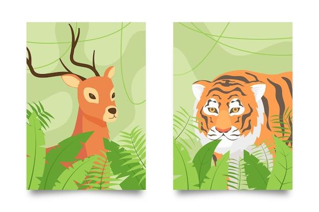 Colección de fundas de animales salvajes. vector gratuito