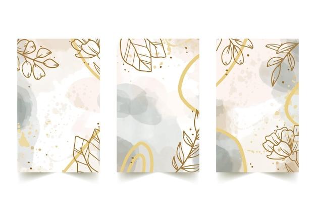 Colección de fundas dibujadas a mano en acuarela