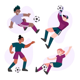 Colección de futbolistas planos