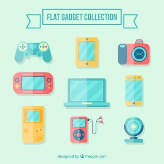 Colección de gadgets planos
